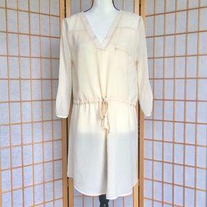 Jella Couture Off White Shear Mini Dress